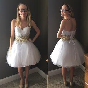 Dresses - White/Gold Formal dress size 2
